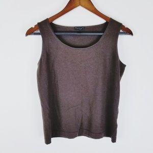 Lafayette 148 NY super 120's wool brown tank large